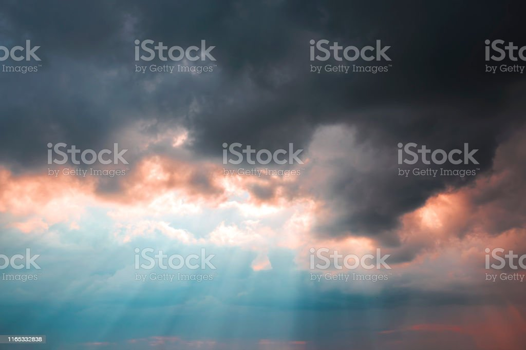 Heavenly dramatic landscape background. Bad weather, thunderstorm,...