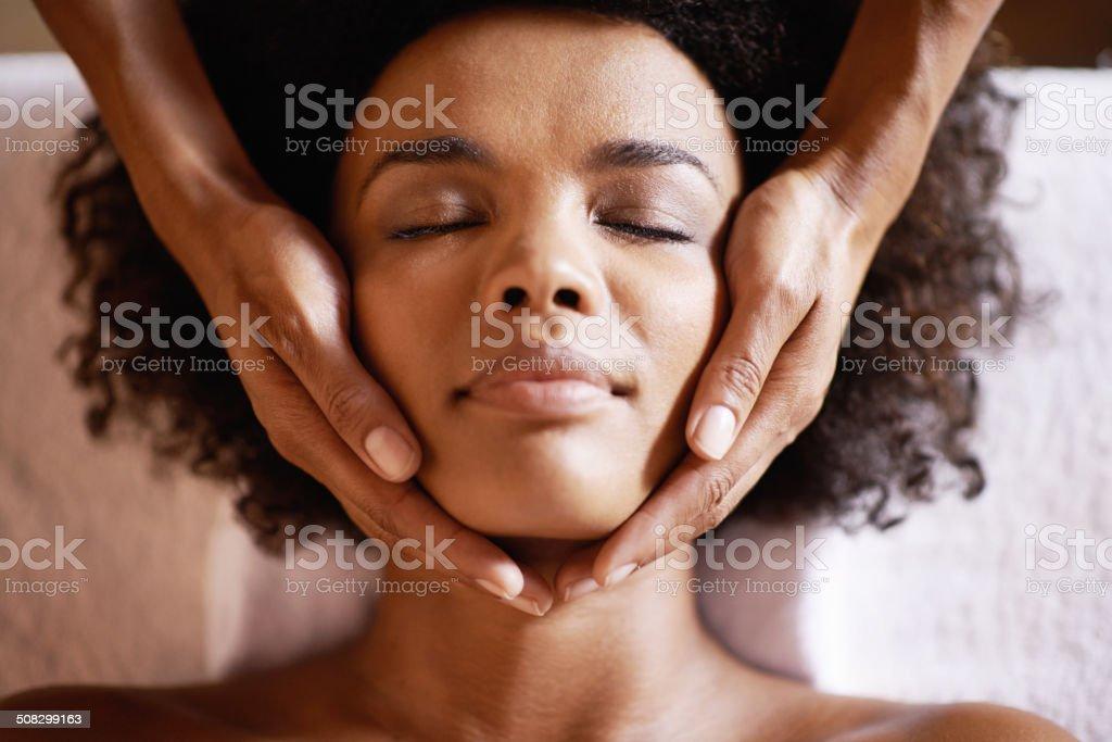 Heavenly head massages stock photo