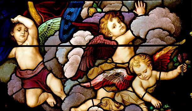 himmlischen heerscharen - naive malerei stock-fotos und bilder