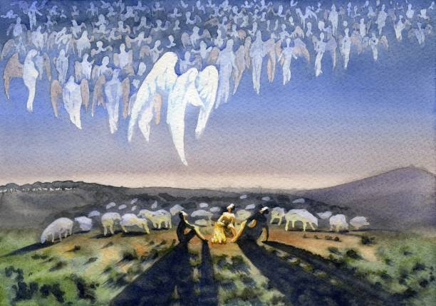 heavenly host. the appearance of the angel to the shepherds - nativity scene stock pictures, royalty-free photos & images