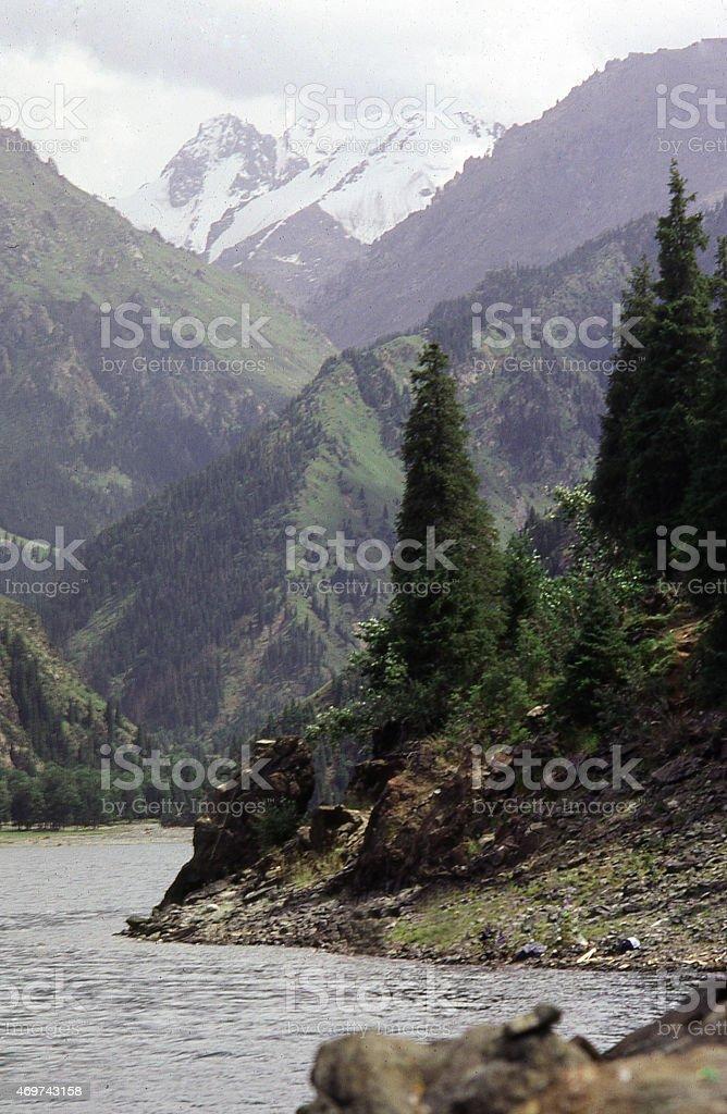 Heavenly Lake High Snow-capped Peaks Tien Shan Mountains Xinjiang China stock photo