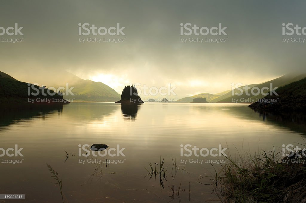 Heavenly lake in the evening royalty-free stock photo