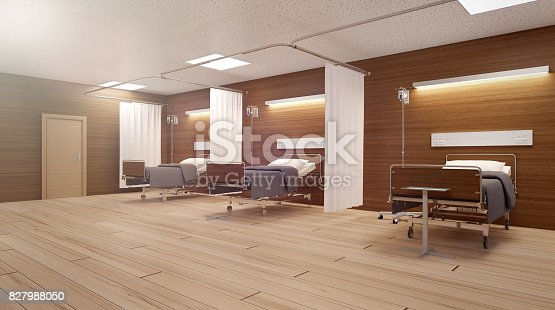 istock Heavenly light in an empty hospital room 827988050