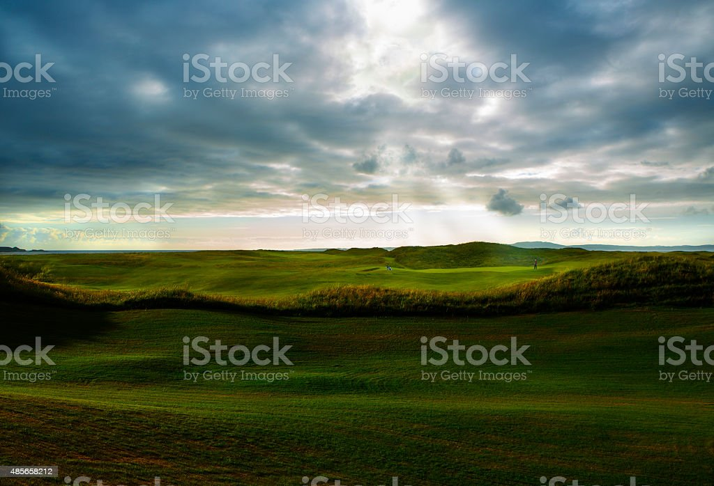 Heavenly Rays on the Golf Course stock photo