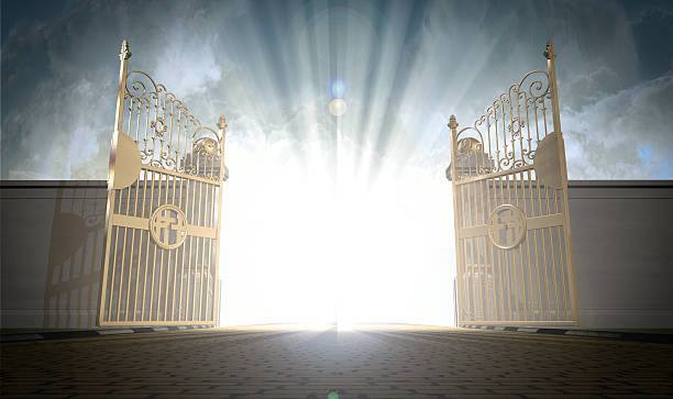 heavens gates opening - open gate stock photos and pictures