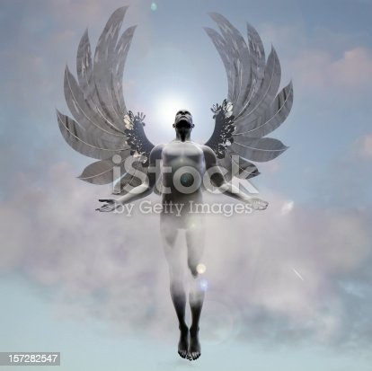 A statuesque angel flying up to heaven.