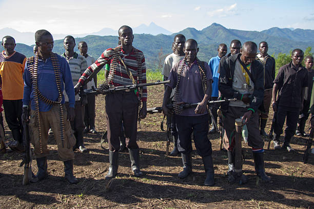 heavily armed soldiers - democratic republic of the congo stock photos and pictures