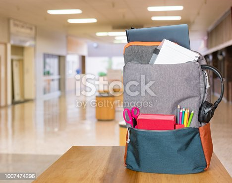istock Heavily loaded backpack with school supplies in modern entrance hall 1007474296