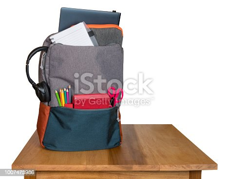 istock Heavily loaded backpack with school supplies on wooden table and isolated 1007473986