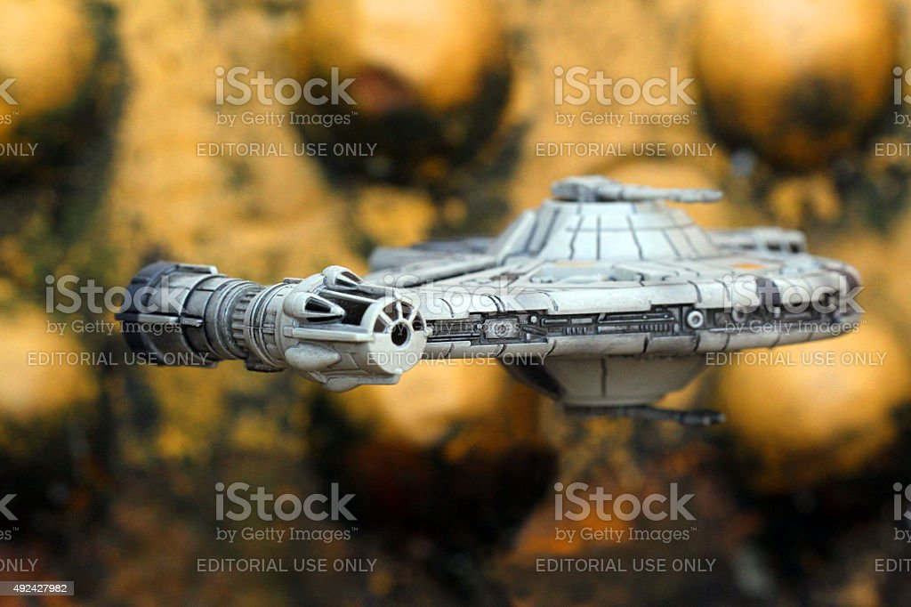 Heavily Modifed YT-2400 Freighter stock photo