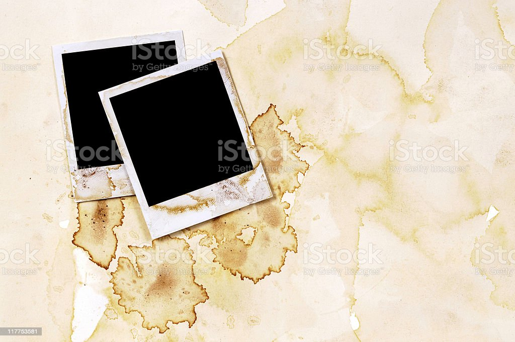Heavily stained photo prints stock photo