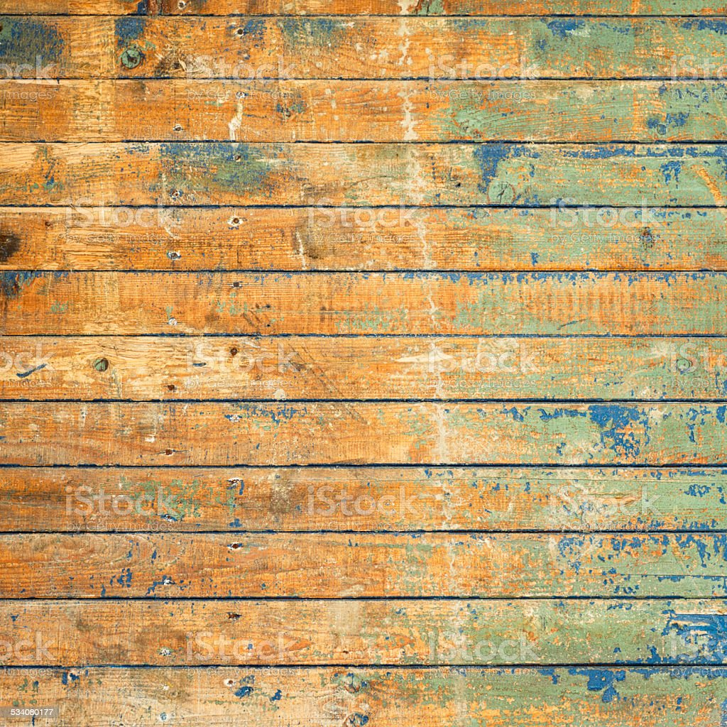 Heavily worn and weathered floorboards stock photo