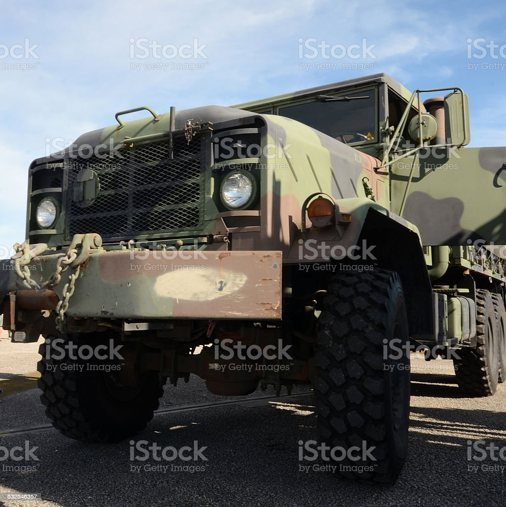 Heavy army truck stock photo
