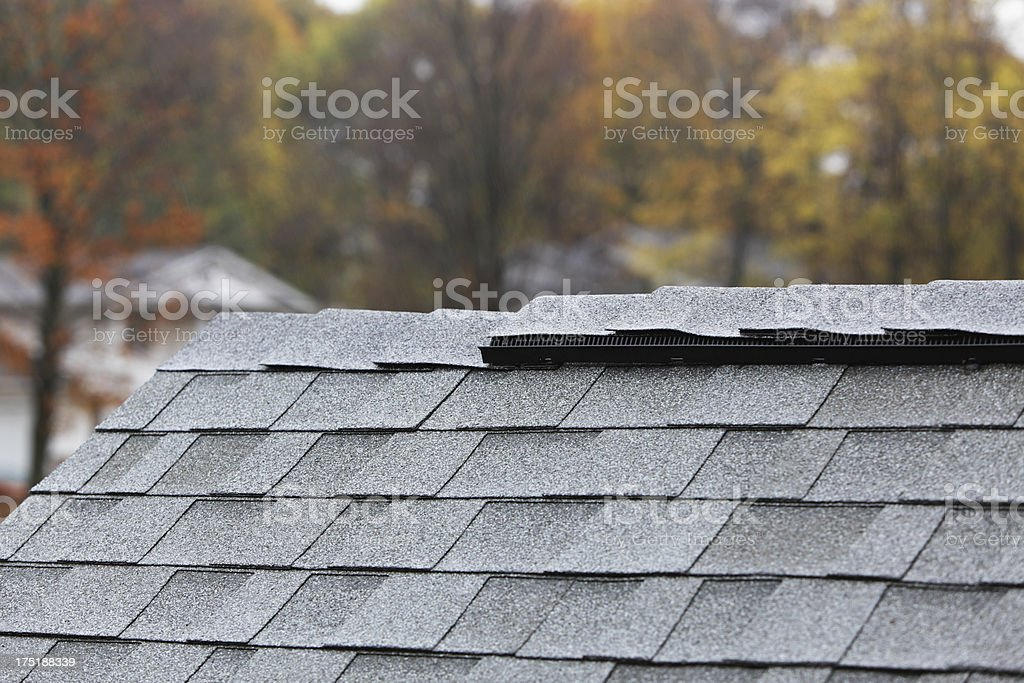 Heavy Autumn Rain on New Shingle Roof stock photo