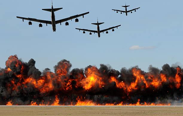 Heavy bombers attacking stock photo
