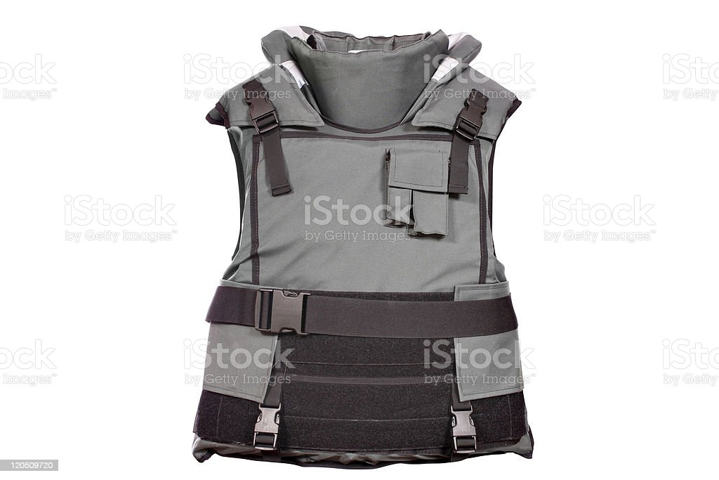 heavy bulletproof vest isolated stock photo