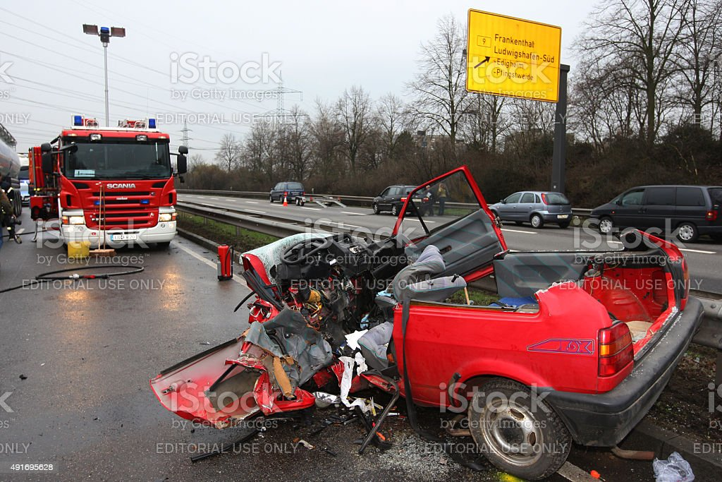 Heavy car crash because of drug abuse stock photo