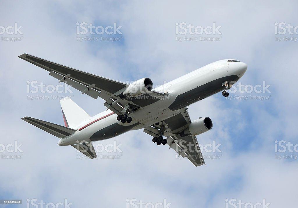 Heavy cargo jet landing royalty-free stock photo