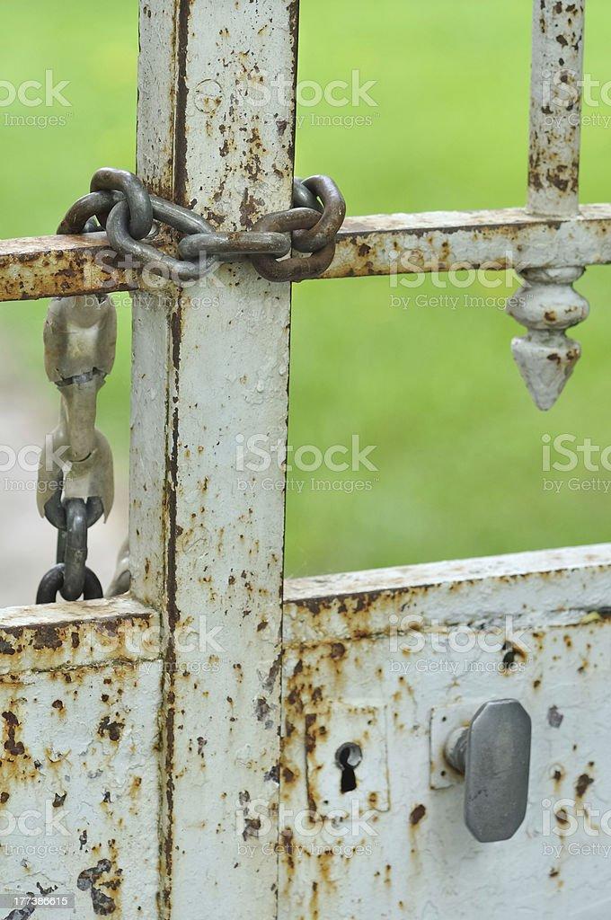 heavy chain of gate stock photo