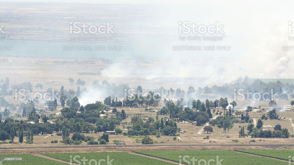 Heavy combat in Syrian city Al Qunaytirah on Golan Heights stock photo