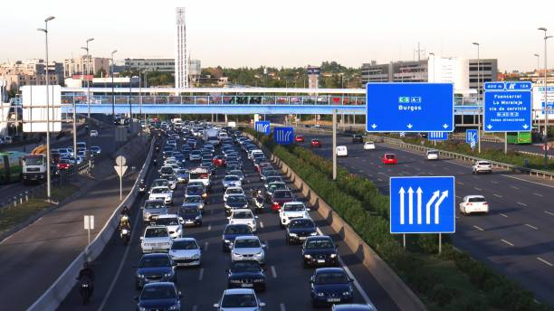Heavy commuter highway traffic on the A1 highway in Las Tablas, Madrid stock photo