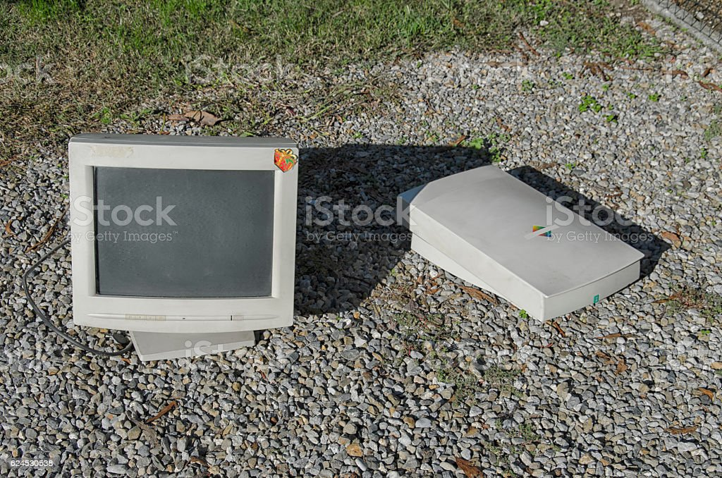 Heavy CTR monitor and old scanner stock photo
