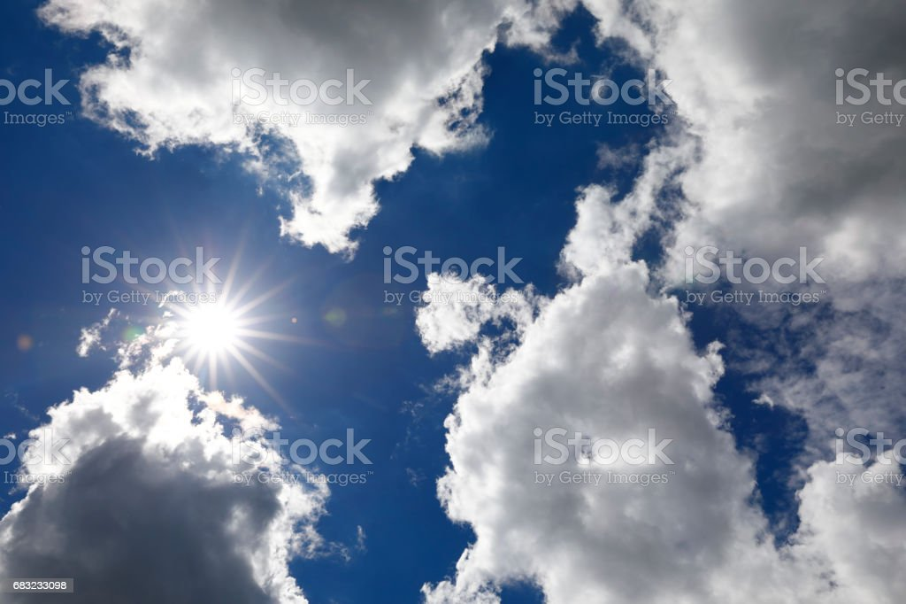 Heavy cumulus clouds over Cologne, Germany stock photo