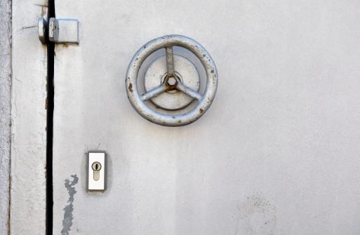 Door lock of an old steel door.