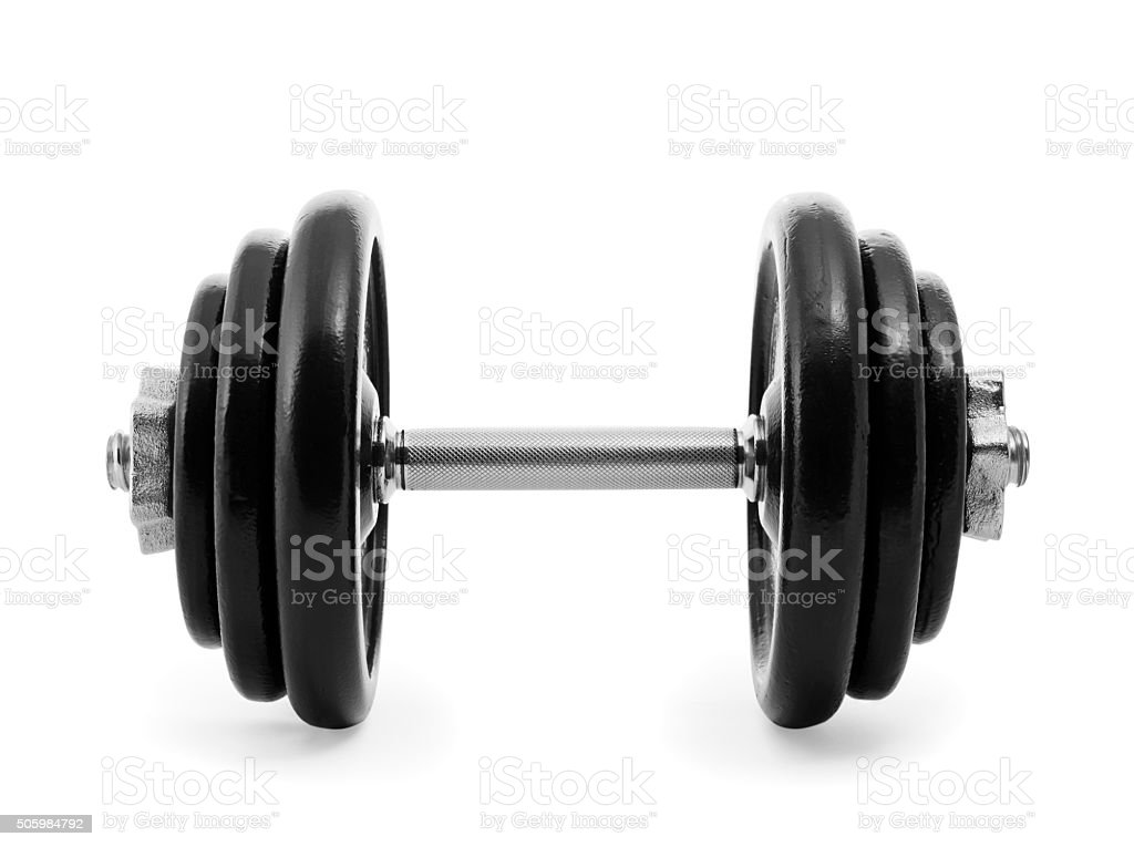 Heavy dumbbell stock photo