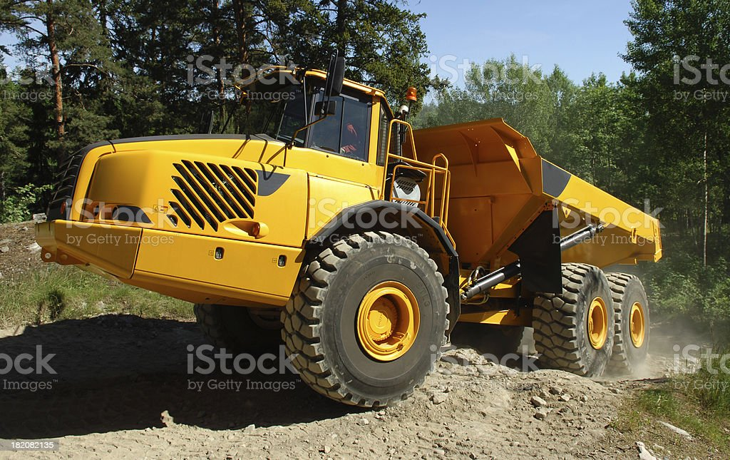Heavy duty dumper construction machine stock photo