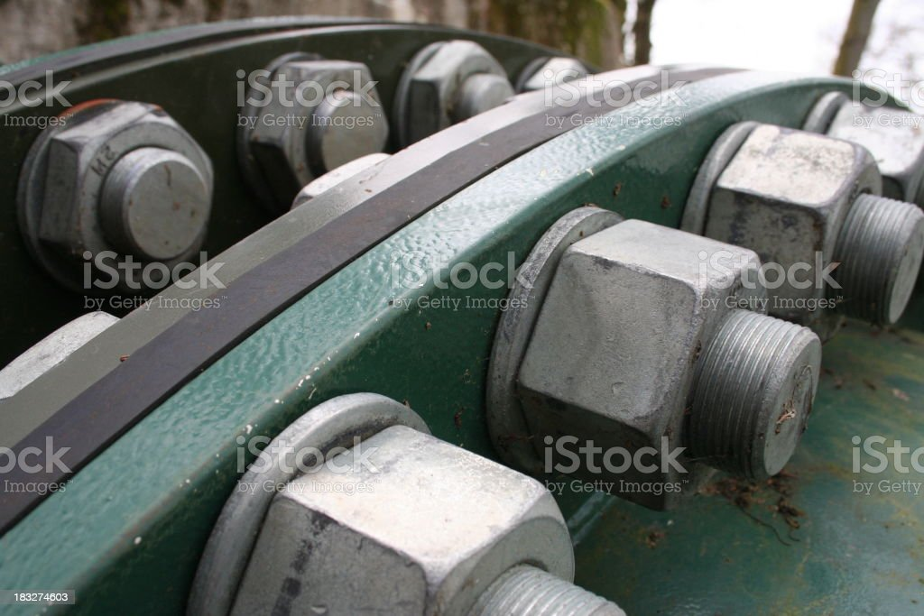 Heavy duty nuts and bolts stock photo