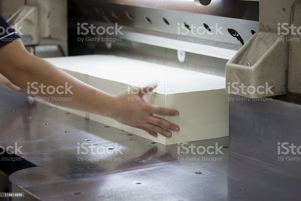 Heavy duty paper guillotine. stock photo