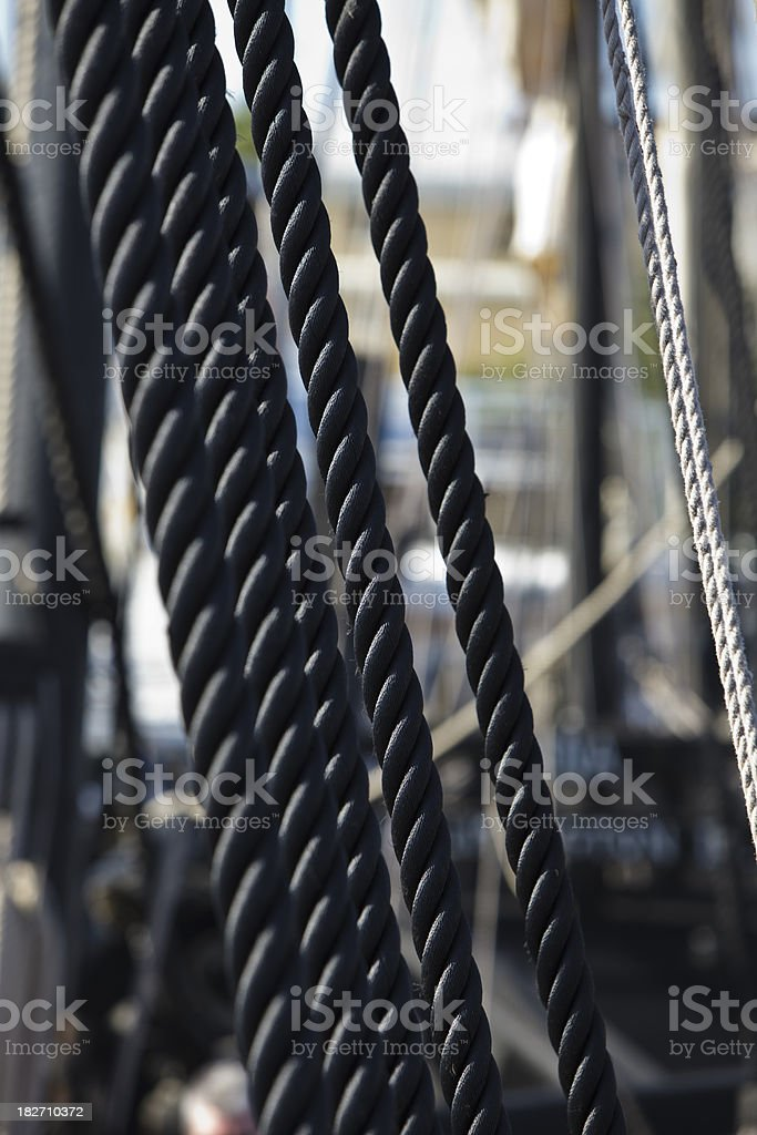 Heavy Duty Ropes Part of Rigging 15th Century Sailing Ship stock photo