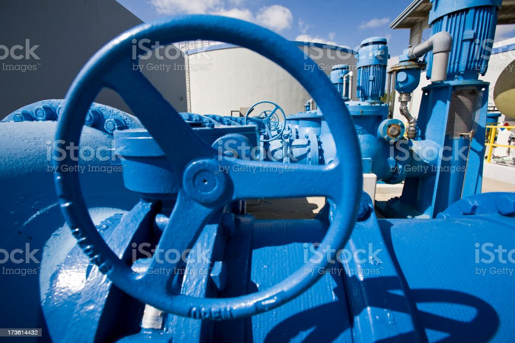 Heavy Duty Wheels and Pumps in Water Purification Plant royalty-free stock photo