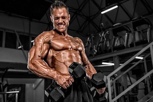 Heavy Duty Workout at the Gym stock photo