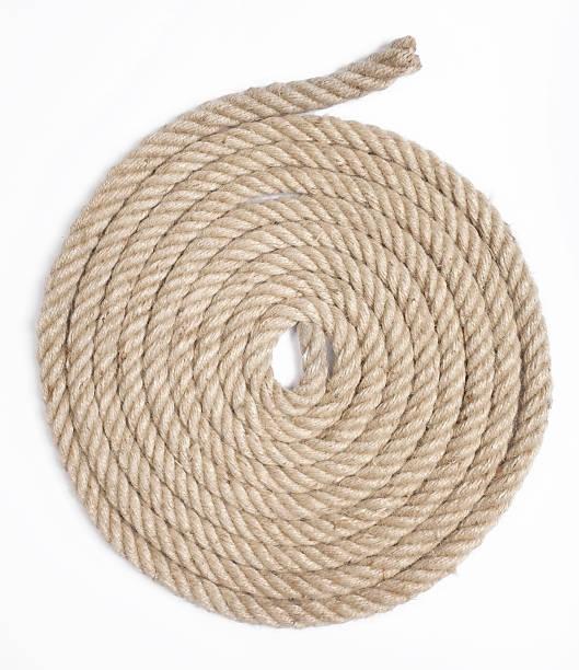 Heavy duty yellow coiled rope stock photo