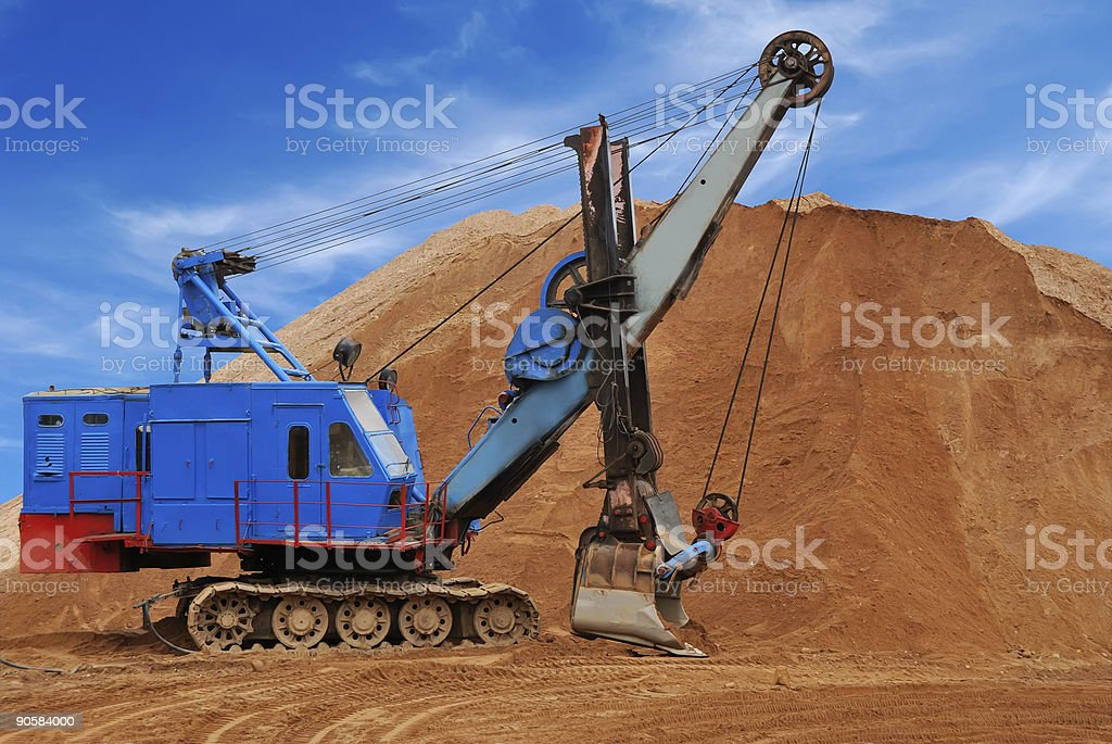 Heavy electric excavator in sandpit royalty-free stock photo