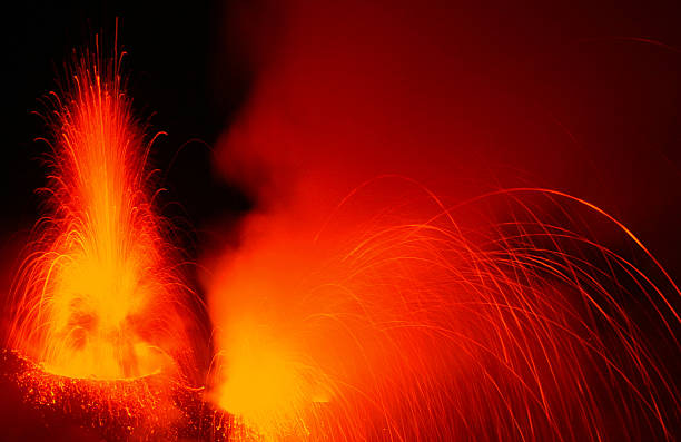 Heavy eruptions at an active volcano stock photo