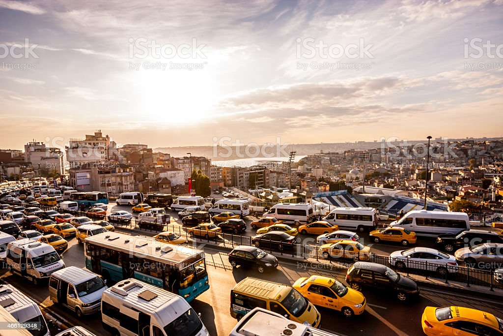 Heavy Evening Traffic in Istanbul, Turkey stock photo