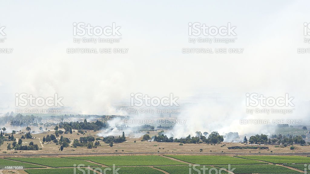 Heavy fighting broke on ceasefire line in Golan Heights stock photo