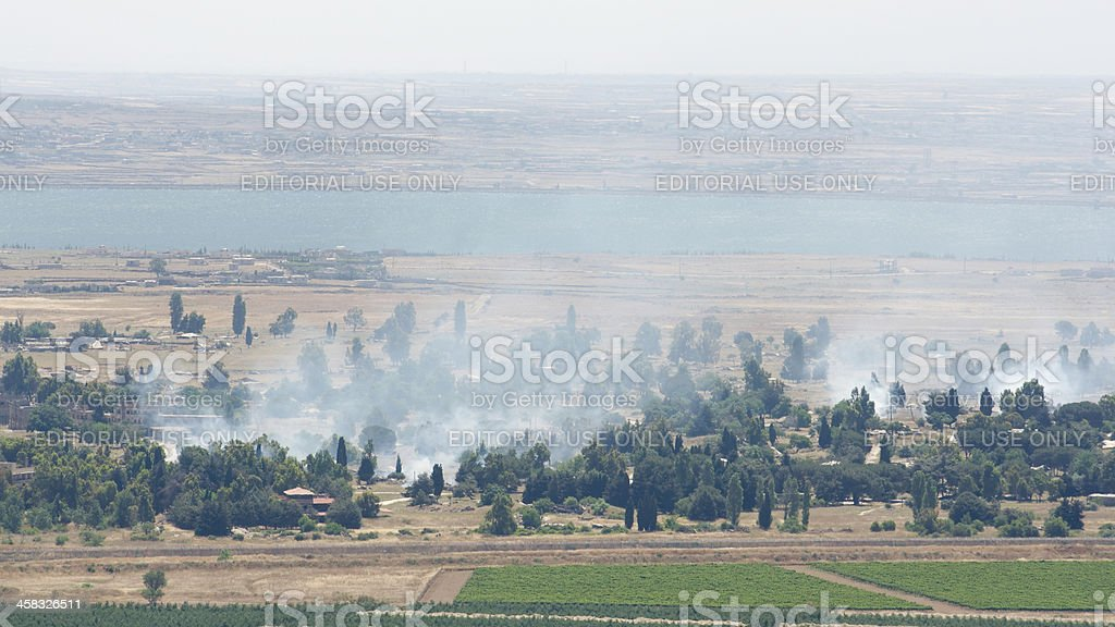 Heavy fighting broke on demilitarized zone in Golan Heights stock photo