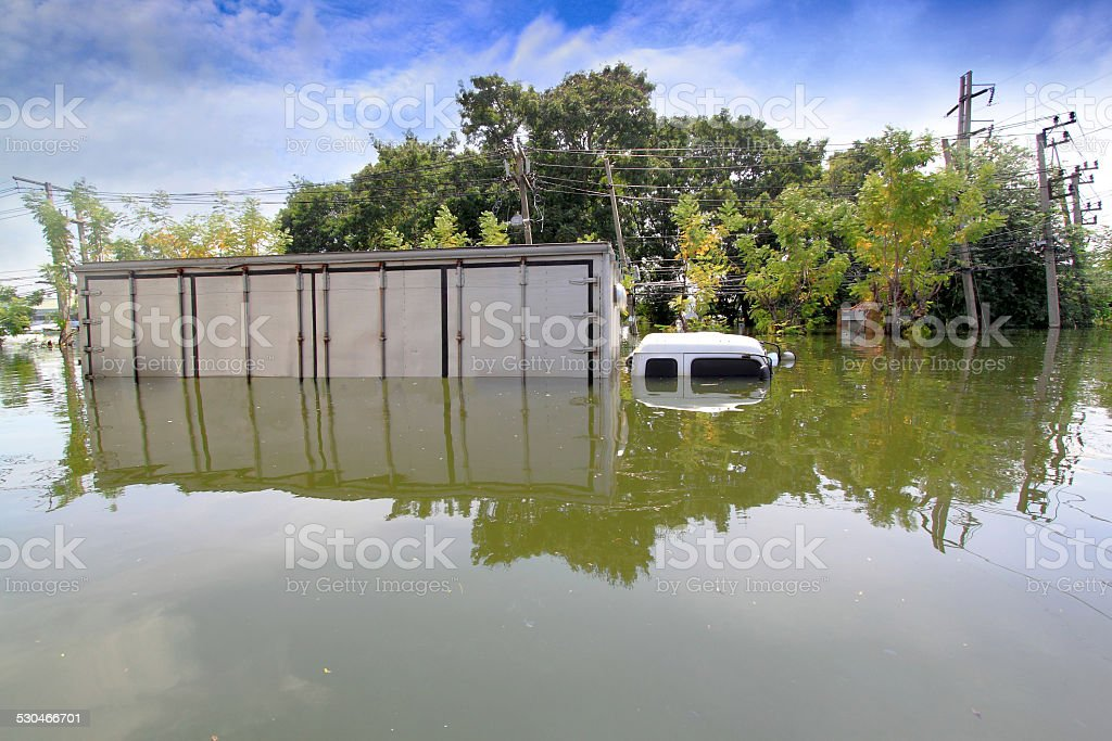 Heavy flooding in Nava nakorn, Prathumthani, Thailand stock photo