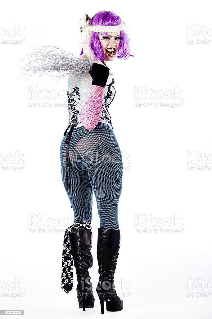 Heavy girl screaming her ass of while dressed up stock photo