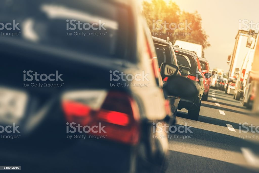 Heavy Highway Traffic stock photo