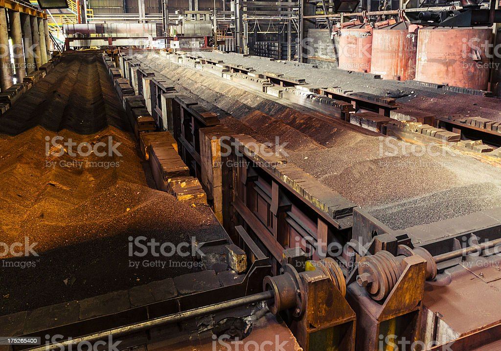 Heavy industry interior, Furnaces for carbon heating in old factory royalty-free stock photo