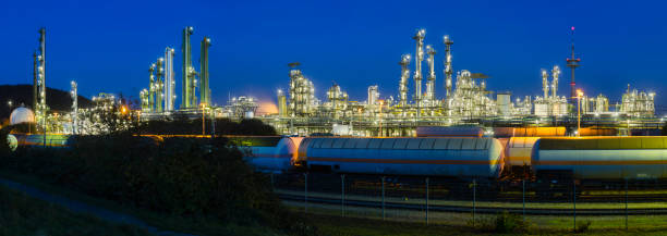 Heavy Industry Panorama At Night stock photo