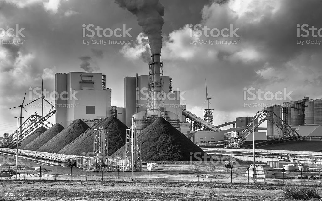 Heavy industry plant with pipes and smoke stock photo