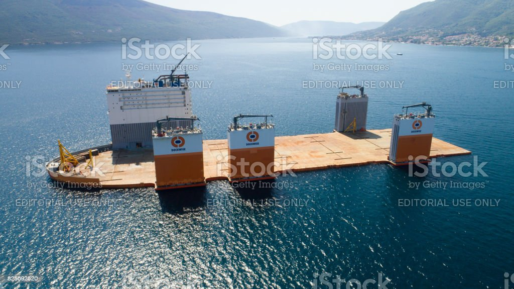 Heavy lift vessel Dockwise Vanguard came to Montenegro to take the floating dock stock photo