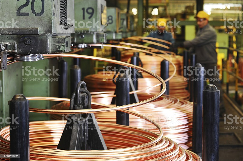 Heavy machinery in copper factory stock photo