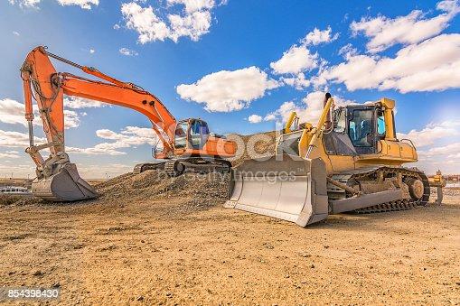 Heavy machinery in repair works of a motorway in Spain